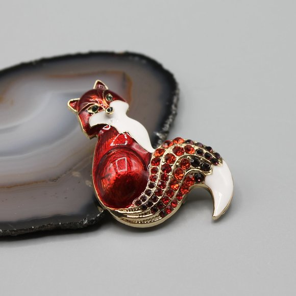 Fox animal pin brooch jewelry fashion red gold